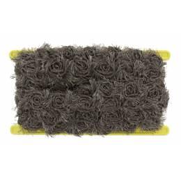 Galon fleurs sur tulle taupe 30mm - 493