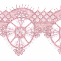 Dentelle polyester 6x7cm rose - 493