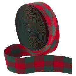Ruban élastique à carreaux rouge/vert 40mm - 493