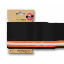 Bord-côte Alb Stoffe collége noir orange 140cm - 495
