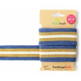 Bande jersey Stripe me bleu doré blanc - 495