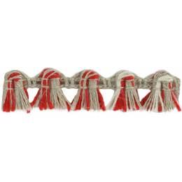 Franges lin acrylique lin ivoire rouge 10 mm - 496