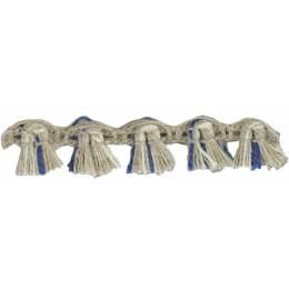 Franges lin acrylique lin ivoire marine 10 mm - 496