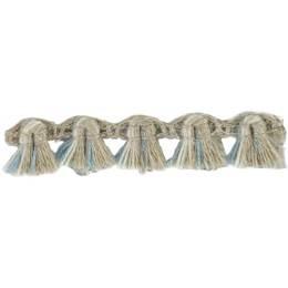 Franges lin acrylique lin ivoire bleu 10 mm - 496