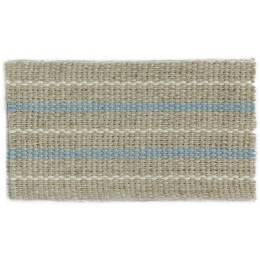 Ruban lin rayé bleu et ivoire 30 mm - 496