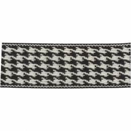 Ruban lin bicolore noir/blanc 25 mm - 496