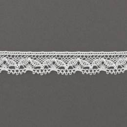 Dentelle 19mm m 90%polyester 10%acrylique blanc - 497