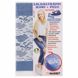 Pièce thermocollante jeans clair + dentelle - 498