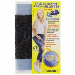 Pièce thermocollante jeans clair + paillette - 498