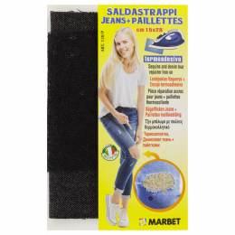 Pièce thermocollante jeans foncé + paillette noire - 498