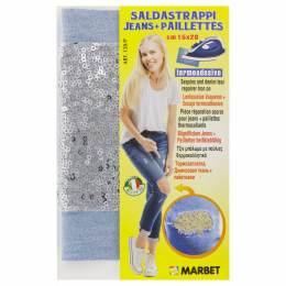 Pièce thermocollante jeans clair +paillette argent - 498
