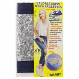 Pièce thermocollante jeans foncé +paillette argent - 498