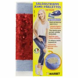 Pièce thermocollante jeans clair +paillette rouge - 498
