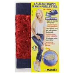 Pièce thermocollante jeans foncé +paillette rouge - 498