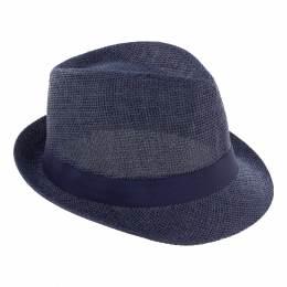 Chapeau fédora paille + ruban mixte marine T59 - 50