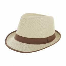 Chapeau fedora paille naturel + ruban marron t.u - 50