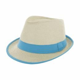 Chapeau fedora paille naturel + ruban turquois t.u - 50