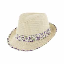 Chapeau de paille enfant ruban t.52 violet - 50