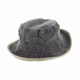 Chapeau brousse bicolore coton t.57 noir/beige - 50