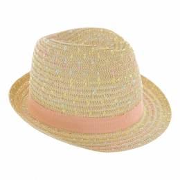 Chapeau fédora paille blanc ruban rose TU - 50
