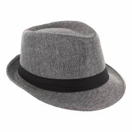 Chapeau fédora polyester ruban mixte gris TU - 50