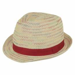 Chapeau enfant paille rouge t.52 - 50
