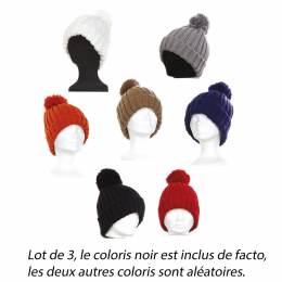 Bonnet côtes+gros pompon 3 coloris ass - 50