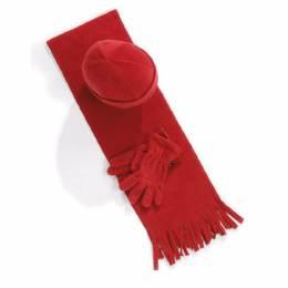 Ensemble bonnet + gants + écharpe rouge enfant - 50