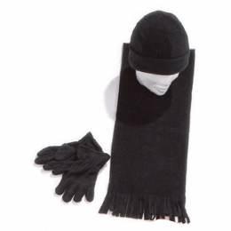 Ensemble bonnet + gants + écharpe noir enfant - 50