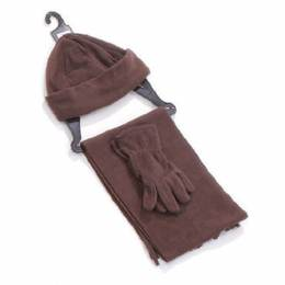 Ensemble bonnet + gants + écharpe marron enfant - 50