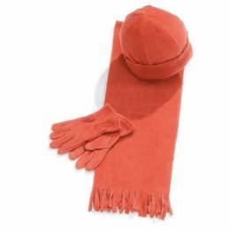 Ensemble bonnet + gants + écharpe orange enfant - 50