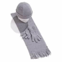 Ensemble bonnet + gants + écharpe gris enfant - 50