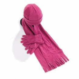 Ensemble bonnet + gants + écharpe fuchsia enfant - 50