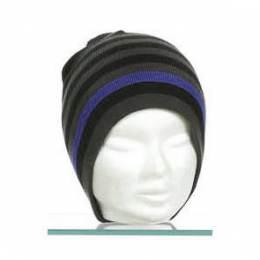 Bonnet mixte 100% acryl t.u gris rayé bleu - 50