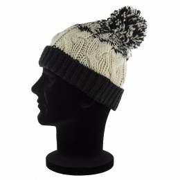 Bonnet adulte bicolore à torsades pompon noir - 50