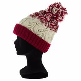 Bonnet adulte bicolore à torsades pompon rouge - 50