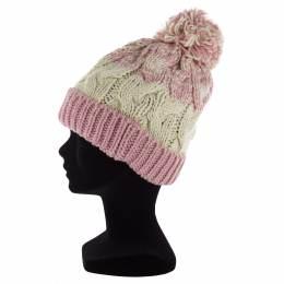 Bonnet adulte bicolore à torsades pompon rose - 50