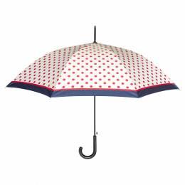 Parapluie canne auto pois blanc - 50