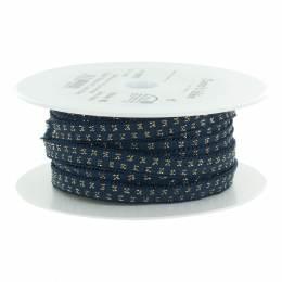Élastique lurex bleu jeans pois doré 10 mm - 53