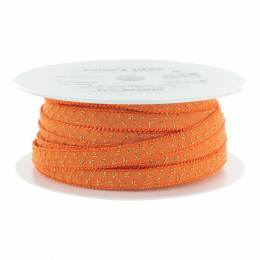Élastique lurex orange pois doré 10 mm - 53