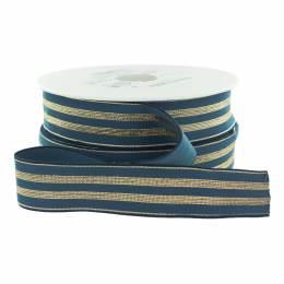 Élastique lurex bleu jeans rayures or 30 mm - 53