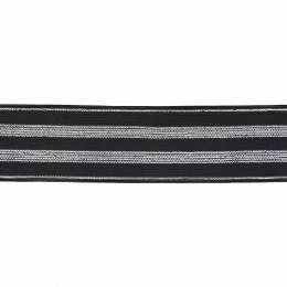 Élastique lurex noir rayures argent 30 mm - 53