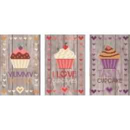 3 tableautins cupcakes - planche de 2 - 55