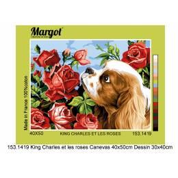 Canevas 30/40 antique king charles et les roses - 55