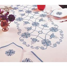 Nappe carrée coton blanc 120/120 sans dentelle - 55
