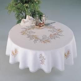 Nappe coton blanc ronde 140 cm sans dentelle - 55