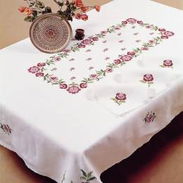 Nappe rectangle coton blanc 140/180 sans dentelle - 55