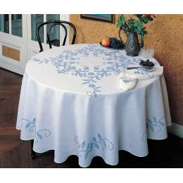 Nappe ovale coton blanc 140/200 sans dentelle - 55