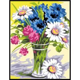 Kit canevas 14/18 garni coton bouquet - 55