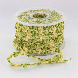 Galon rococo 10mm rigide vert/jaune